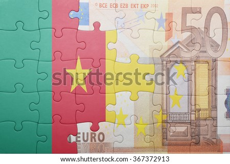 puzzle with the national flag of cameroon and euro banknote . concept - stock photo