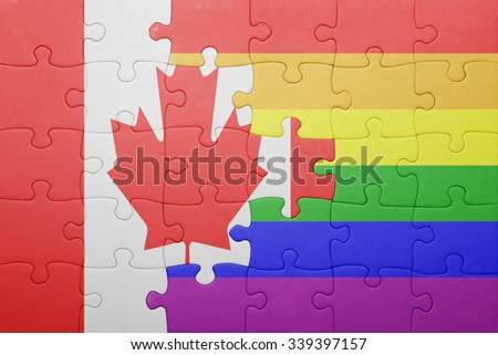 puzzle with the national flag of canada and gay flag.concept - stock photo