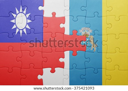 puzzle with the national flag of canary islands and taiwan . concept - stock photo