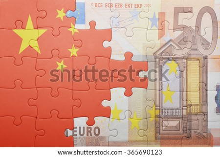 puzzle with the national flag of china and euro banknote . concept - stock photo