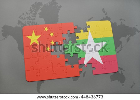 puzzle with the national flag of china and myanmar on a world map background. 3D illustration - stock photo