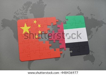 puzzle with the national flag of china and united arab emirates on a world map background. 3D illustration - stock photo