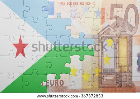 puzzle with the national flag of djibouti and euro banknote . concept - stock photo