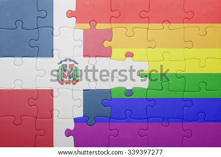 puzzle with the national flag of dominican republic and gay flag.concept - stock photo