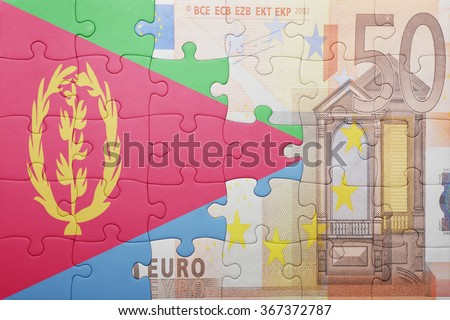 puzzle with the national flag of eritrea and euro banknote . concept - stock photo