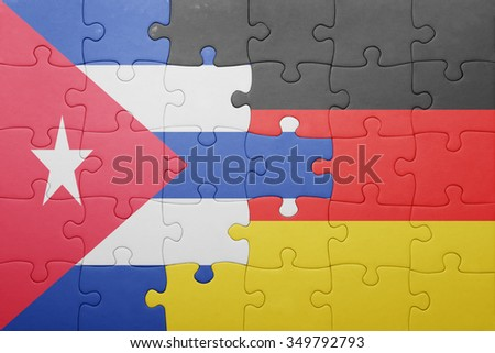 puzzle with the national flag of germany and cuba. concept - stock photo