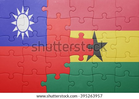puzzle with the national flag of ghana and taiwan . concept - stock photo