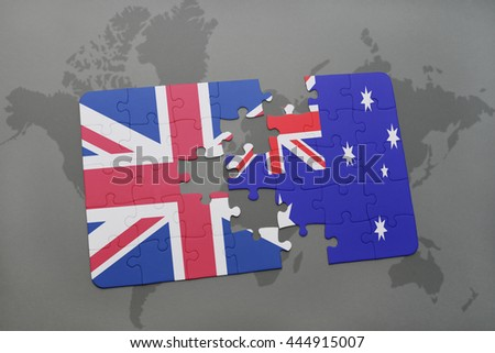 puzzle with the national flag of great britain and australia on a world map background. - stock photo