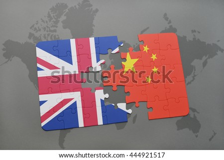 puzzle with the national flag of great britain and china on a world map background. - stock photo