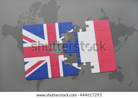 puzzle with the national flag of great britain and france on a world map background - stock photo