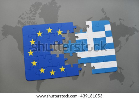 puzzle with the national flag of greece and european union on a world map background. - stock photo