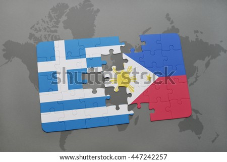 puzzle with the national flag of greece and philippines on a world map background. 3D illustration - stock photo
