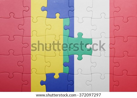 puzzle with the national flag of guinea and france . concept - stock photo