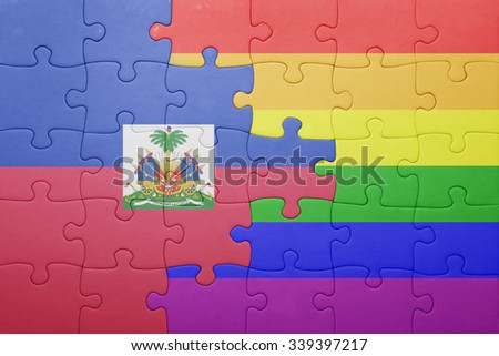 puzzle with the national flag of haiti and gay flag.concept - stock photo