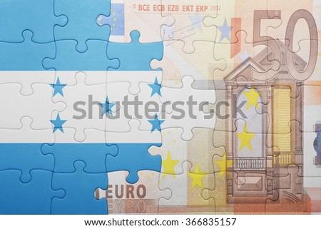 puzzle with the national flag of honduras and euro banknote . concept - stock photo