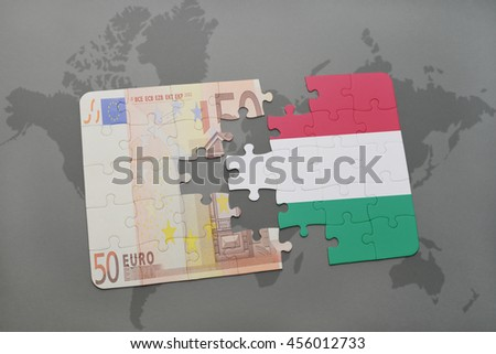 puzzle with the national flag of hungary and euro banknote on a world map background. 3D illustration - stock photo