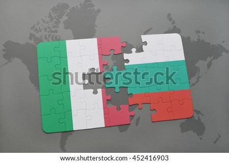 puzzle with the national flag of italy and bulgaria on a world map background. 3D illustration - stock photo
