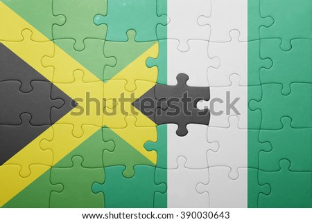 puzzle with the national flag of jamaica and nigeria . concept - stock photo