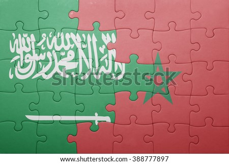 puzzle with the national flag of morocco and saudi arabia . concept - stock photo