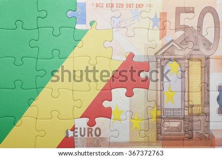 puzzle with the national flag of republic congo and euro banknote . concept - stock photo