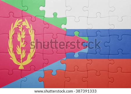 puzzle with the national flag of russia and eritrea . concept - stock photo