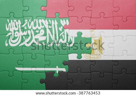 puzzle with the national flag of saudi arabia and egypt. concept - stock photo