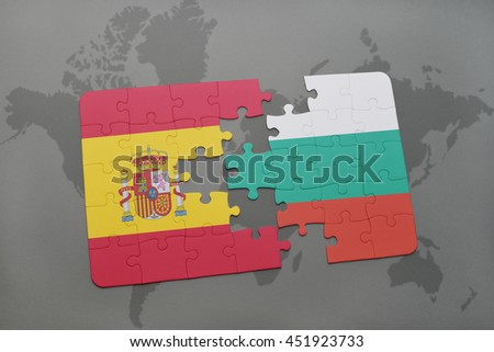 puzzle with the national flag of spain and bulgaria on a world map background. 3D illustration - stock photo