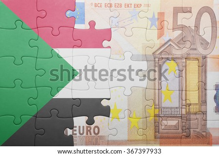 puzzle with the national flag of sudan and euro banknote . concept - stock photo