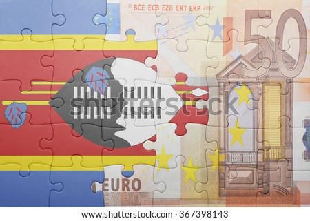 puzzle with the national flag of swaziland and euro banknote . concept - stock photo