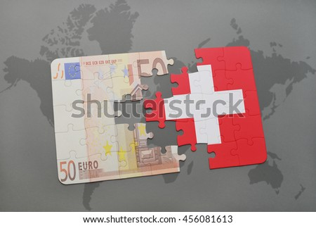 puzzle with the national flag of switzerland and euro banknote on a world map background. 3D illustration - stock photo