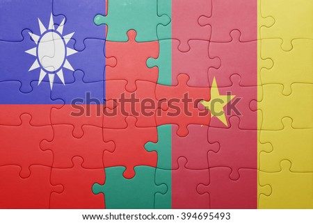 puzzle with the national flag of taiwan and cameroon . concept - stock photo