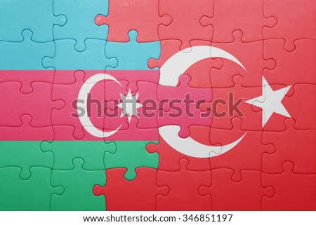puzzle with the national flag of turkey and azerbaijan . concept - stock photo