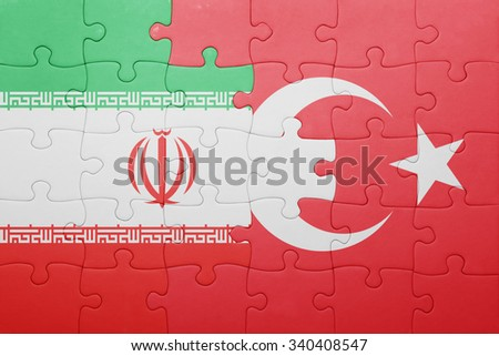 puzzle with the national flag of turkey and iran . concept - stock photo