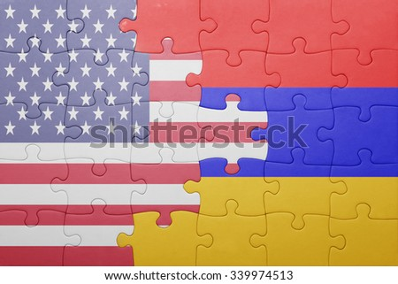 puzzle with the national flag of united states of america and armenia .concept - stock photo