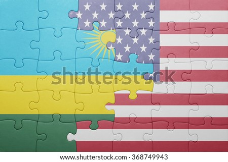 puzzle with the national flag of united states of america and rwanda .concept - stock photo