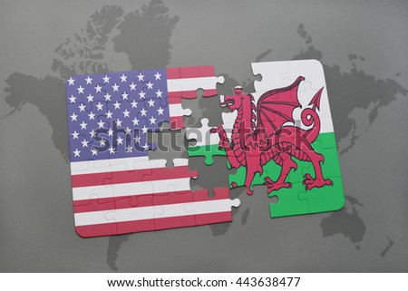 puzzle with the national flag of united states of america and wales on a world map background - stock photo