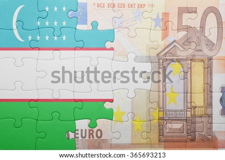 puzzle with the national flag of uzbekistan and euro banknote . concept - stock photo