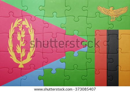 puzzle with the national flag of zambia and eritrea . concept - stock photo