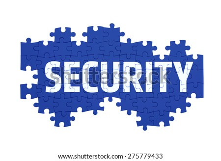 Puzzle with the SECURITY word  isolated on white  - stock photo