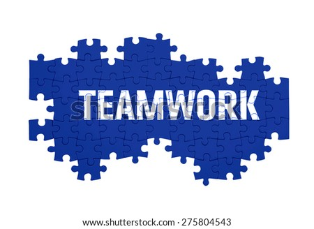 Puzzle with the TEAMWORK word  isolated on white  - stock photo