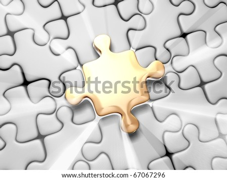 Puzzle with Volume Light - stock photo