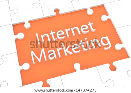 puzzle with words on orange background concept:  Internet Marketing - stock photo