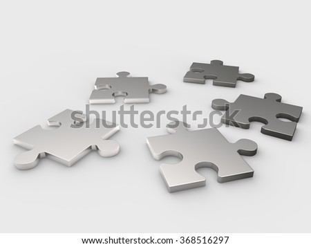 Puzzles, 3-d illustration - stock photo