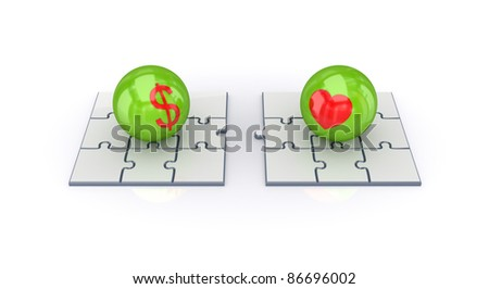 Puzzles, dollar and heart signs.Isolated on white background.3d rendered. - stock photo