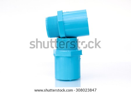 PVC pipe and fittings HS Blue. On a white background - stock photo