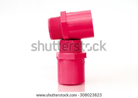PVC pipes and joints unanimously red. On a white background - stock photo