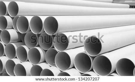 PVC pipes stacked in construction site ,aspect ratio 16:9 - stock photo