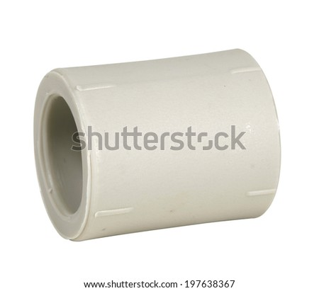 PVC water pipe coupler connection isolated on white with clipping path included - stock photo