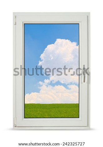 Pvc window on white background with clipping path.  - stock photo