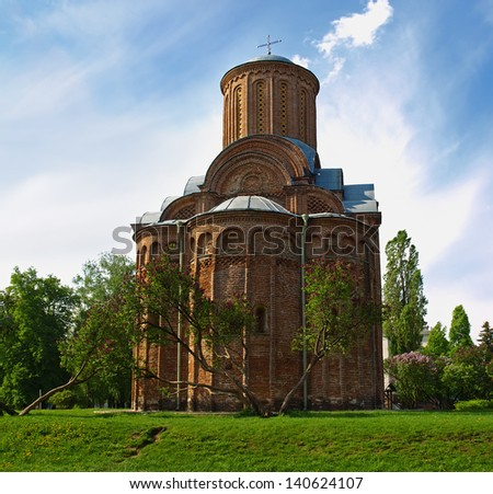 Pyatnytska church is a functioning church in Chernigiv, Ukraine. It was built at 12th century. Reproduce with great authenticity.   - stock photo